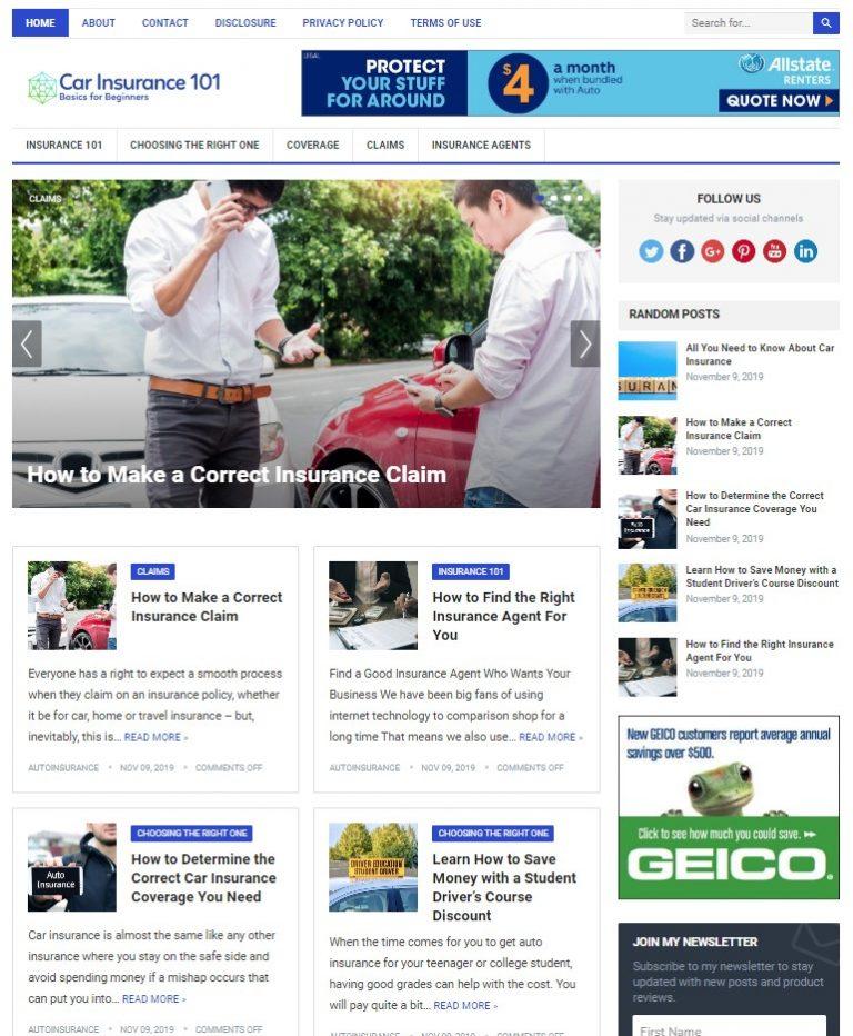 auto insurance WP theme