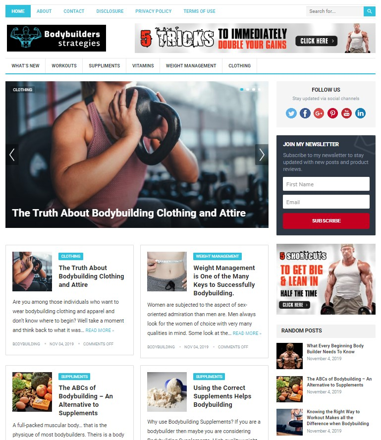 bodybuilding wp theme