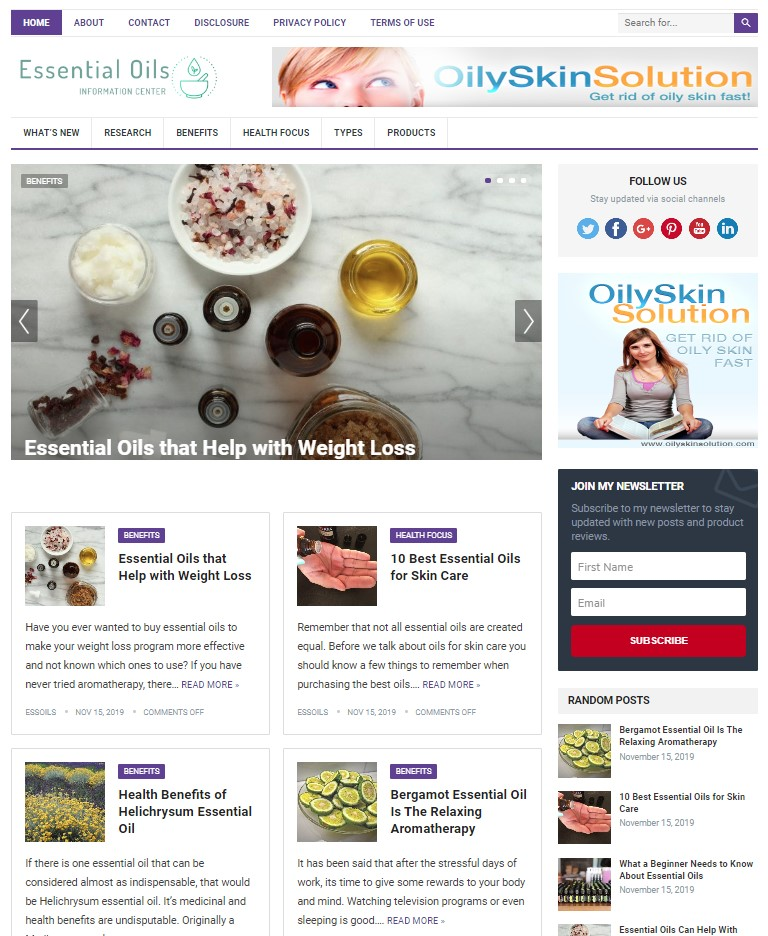 essential oils wp theme